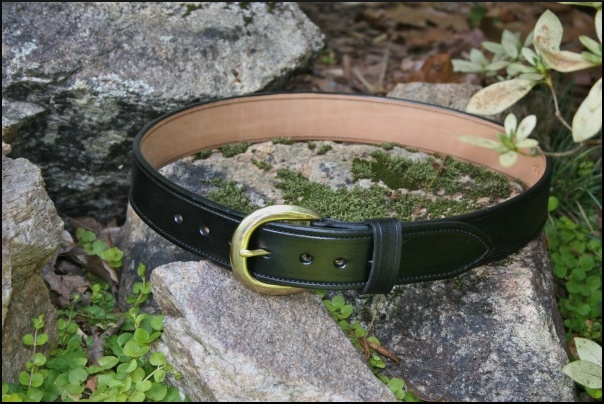 1 3/4 Inch Leather Gun Belts Hand Made from Horse Hide. Black, 5 other color options available.