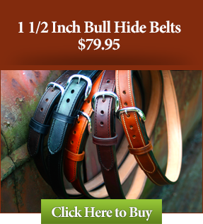 "1 1/2"" Custom Bull Hide Leather Gun Belts $79.95"