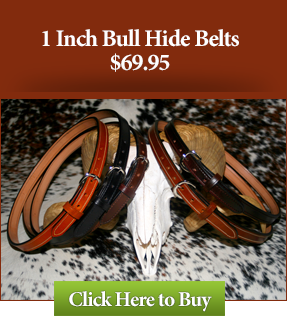 "1"" Bull Hide Leather Gun Belts $69.95"
